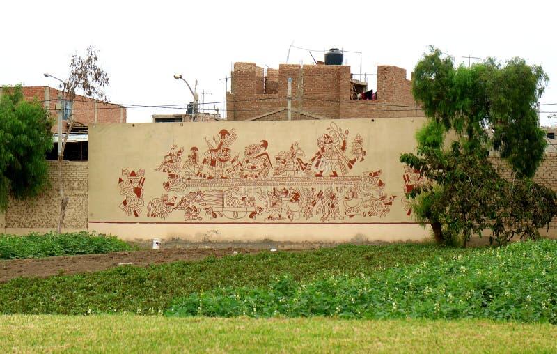 Die innere Wand von königlichen Gräbern von Sipan-Museum, Huaca Rajada, Lambayeque, Chiclayo, Peru lizenzfreies stockfoto