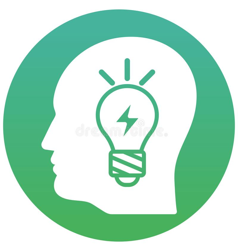 Die Intelligenz, lokalisierte Vektor-Ikone gedanklich lösend kann leicht sein redigieren und ändern stock abbildung
