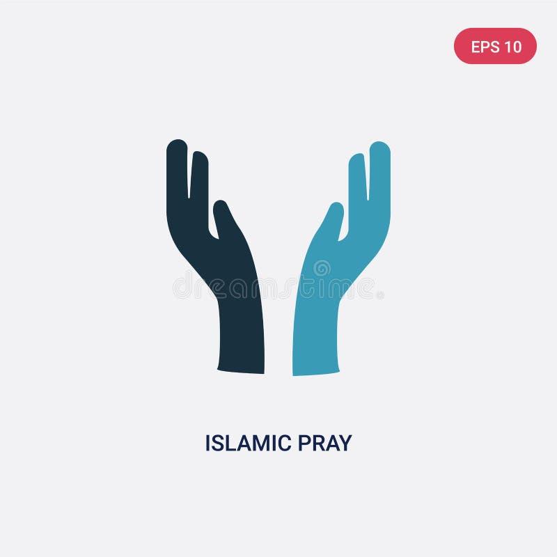 Die islamische Farbe zwei beten Vektorikone vom Konzept religion-2 lokalisierte blaue islamische beten Vektorzeichensymbol können lizenzfreie abbildung