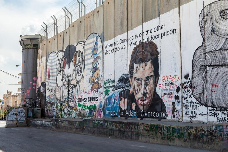 Die israelische Westjordanlandsperre oder -wand lizenzfreie stockfotos