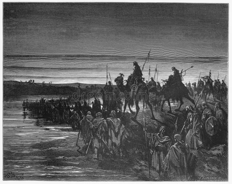 Die Israelite kreuzen das Fluss Jordan lizenzfreie abbildung