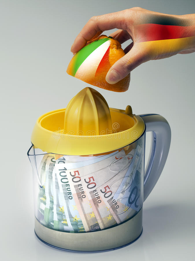 Italienische Wirtschaft zerquetscht von Angela Merkel lizenzfreies stockbild