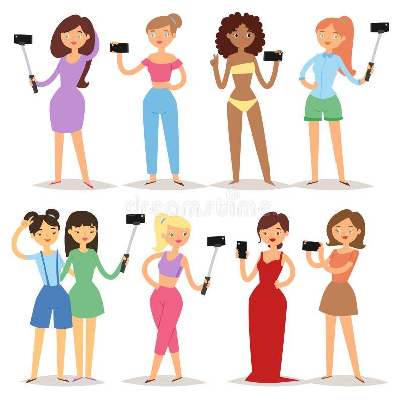 Die junge attraktive Frau des Porträts, die selfie Foto auf Smartphonehippie-Schönheitskarikaturmädchen macht, fotografieren Char vektor abbildung