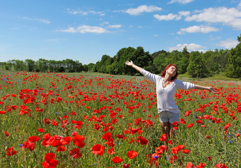 Die junge Frau der glücklichen Rothaarigen, die auf dem Mohnblumengebiet steht stockfotos