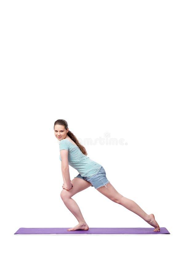 Die junge Frau im Sportkonzept lokalisiert auf dem Weiß lizenzfreies stockbild