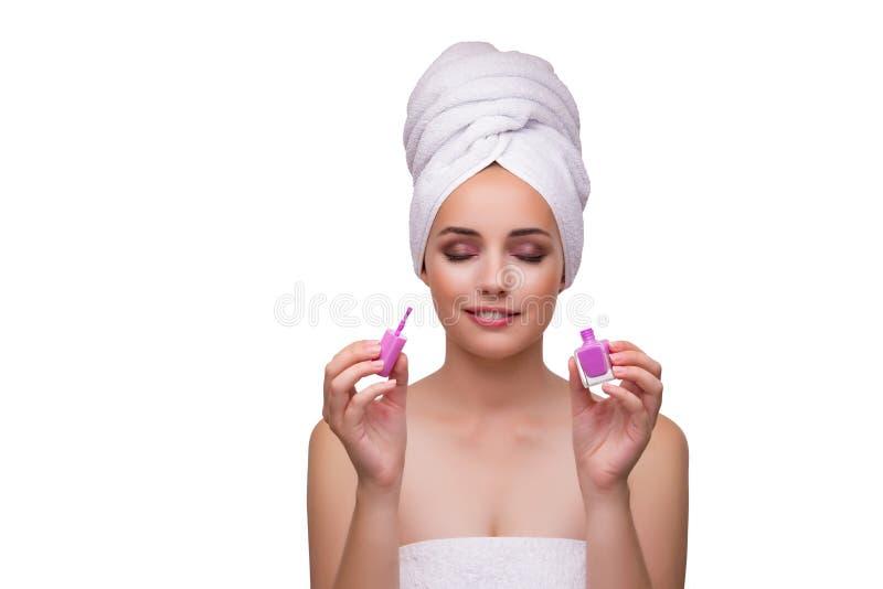 Die junge Schönheit mit Lippenstift auf Weiß lizenzfreies stockfoto