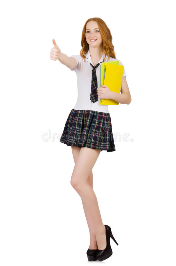Die junge wandernde Studentenfrau lokalisiert auf Weiß lizenzfreies stockfoto