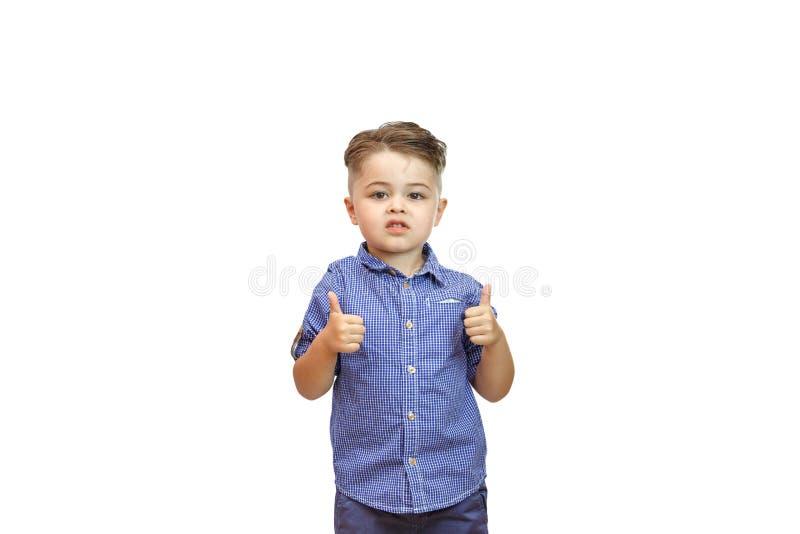 Die Jungen ?bergeben zeigt eine Geste der Zustimmung Daumen oben Die Hand zeigt Gestenklasse Alles ist, Sie werden getan, Lob küh lizenzfreies stockfoto