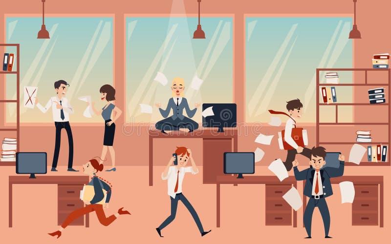 Die jungen meditierenden Blondine, halten Ruhe und Balance im Bürochaos vor der Frist lizenzfreie abbildung