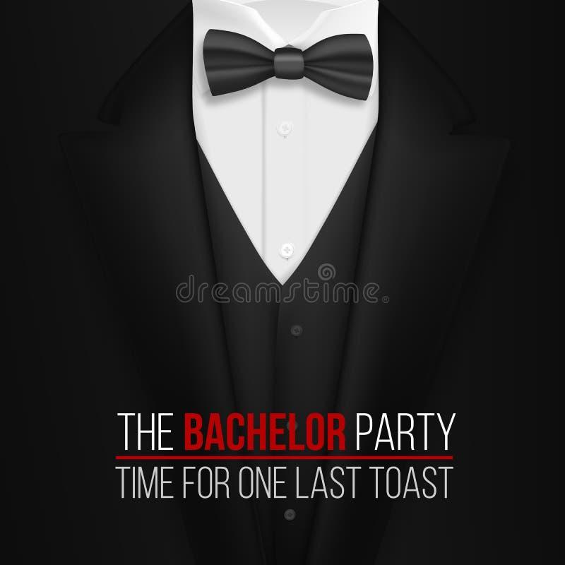 Die Jungesellen-Party-Einladungs-Schablone Realistischer Schwarz ...