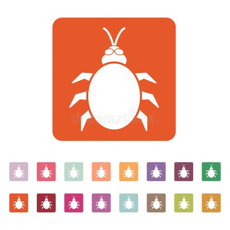 Die Käfer- und Wanzenikone Akaride, Insekt, Virussymbol flach vektor abbildung