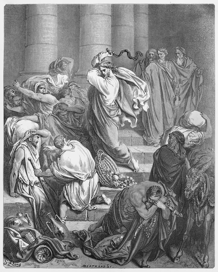 Die Käufer und die Verkäufer verjagt vom Tempel lizenzfreie abbildung