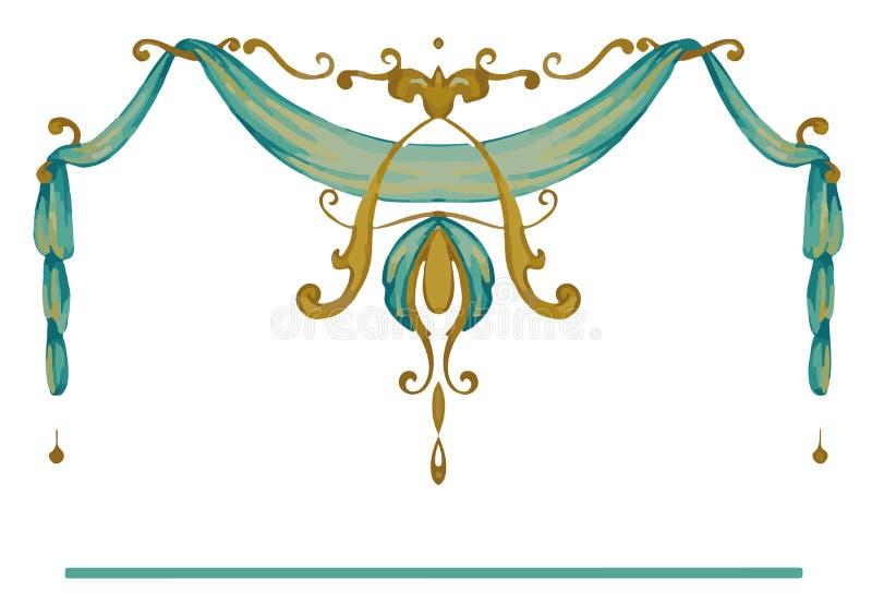 Die königliche goldene aufwändige Rahmenart vektor abbildung
