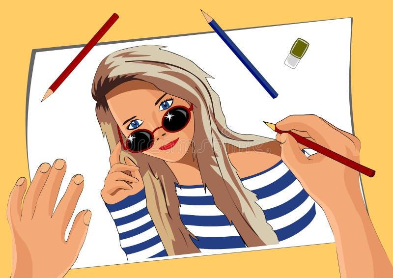 Die Künstler ` s Hand zeichnet ein russisches Mädchen in den Gläsern und in der Weste lizenzfreie abbildung