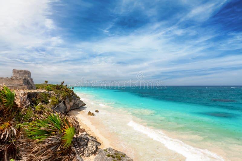 Die Küstenlinie des Riviera-Mayas in Tulum, Mexiko lizenzfreie stockfotos