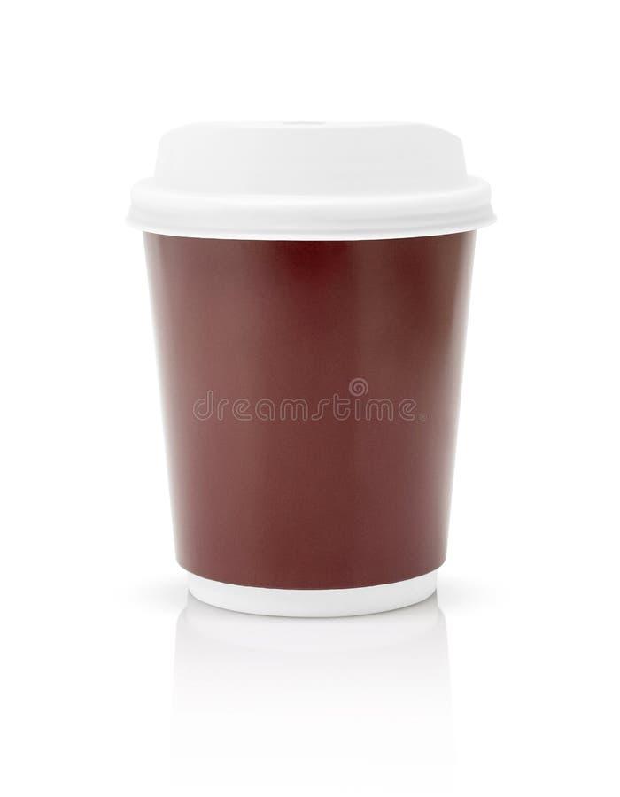 Die Kaffeepapierschale zu gehen lokalisierte auf weißem Hintergrund stockbilder