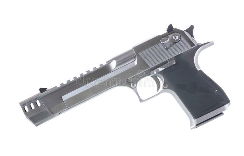 50 die kaliberpistool op Witte Verlaten Achtergrond wordt geïsoleerd royalty-vrije stock foto's