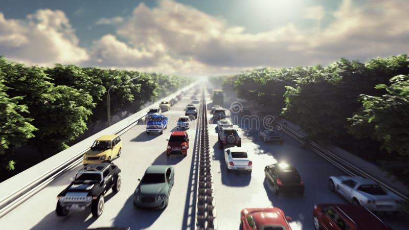 Die Kamera fliegt über starken Verkehr Autos laufen die Stadt am Nachmittag durch Wiedergabe 3d lizenzfreie abbildung
