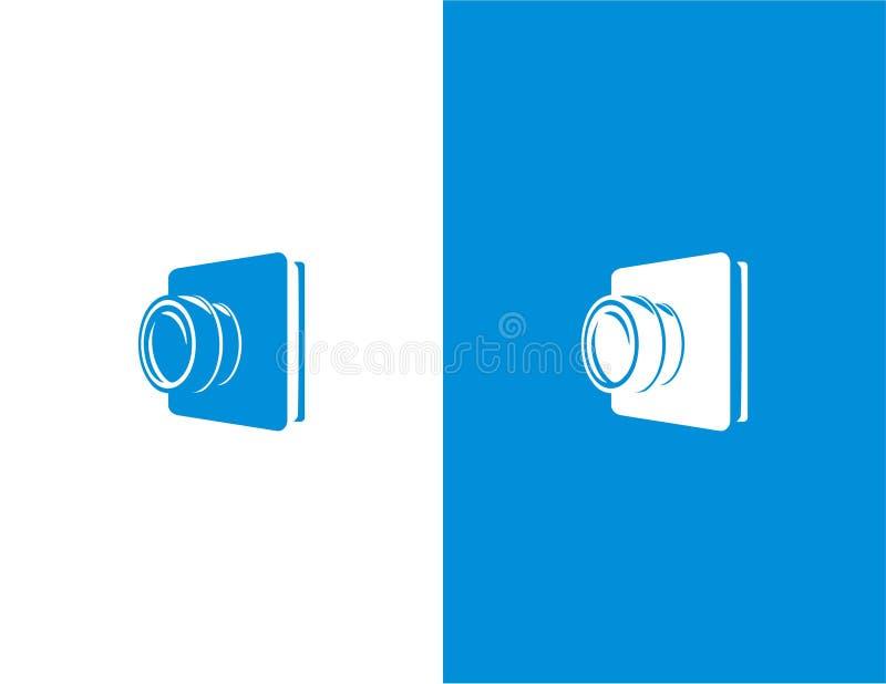 Die Kamera, die mit Buch für Fotografie kombiniert wurde, bezog sich Logoschablone vektor abbildung