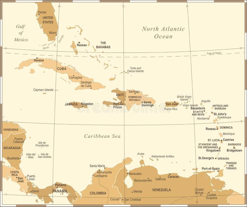 Die karibische Karte - Weinlese-Vektor-Illustration lizenzfreie abbildung