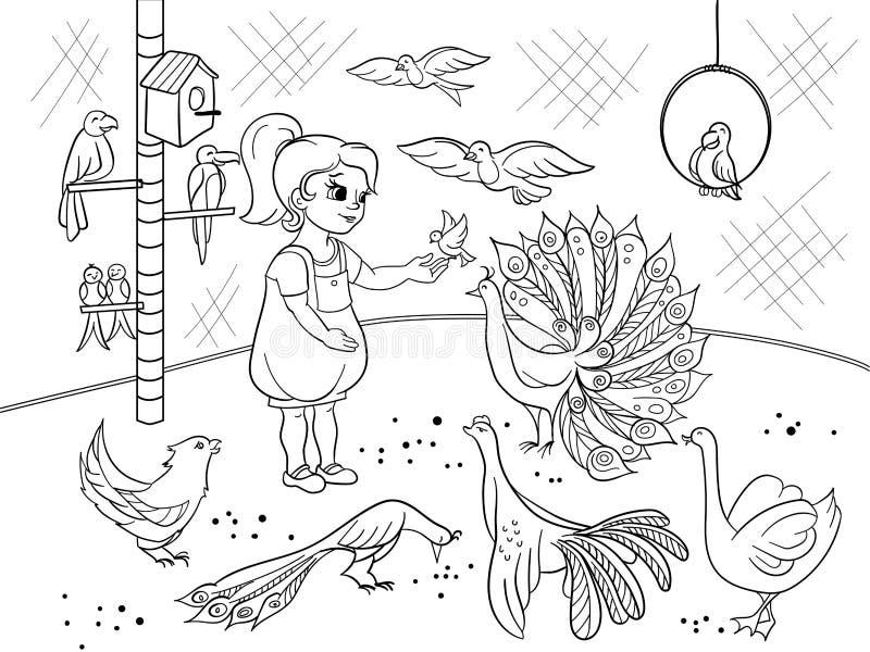 Die Karikatur der Kinder, die den Kontaktvogelzoo färbt Vogelschwarzweiss-Bilderbuch Vogelkunde für das Mädchen vektor abbildung
