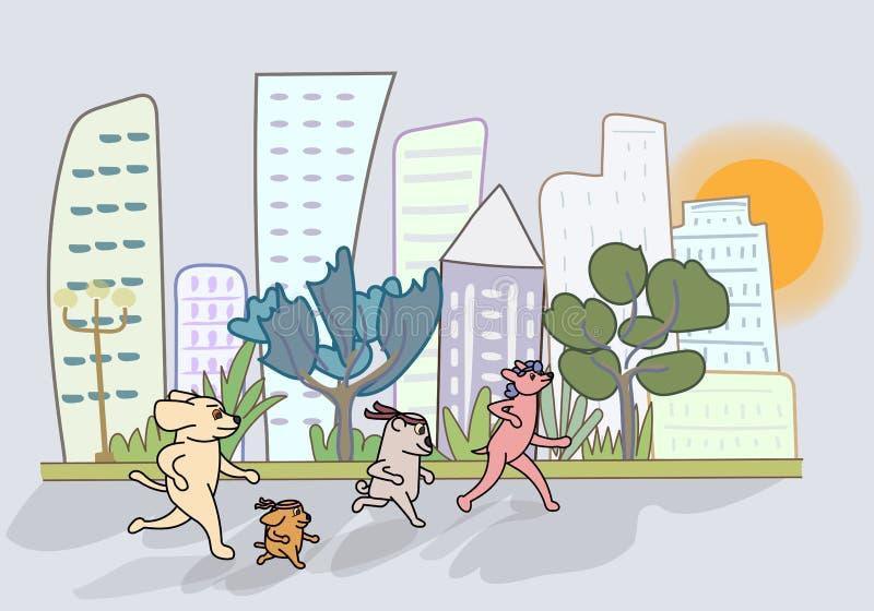 Die Karikaturhundezwinger im Garten mit Blick auf das hohe Gebäude stock abbildung