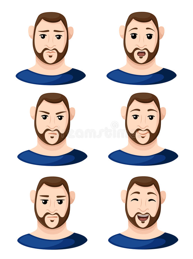Die Karikaturmanngesichter, die unterschiedlichen Gefühlmanngefühl emoji Ikonensatz für flaches Design des Innenraums zeigen, red vektor abbildung