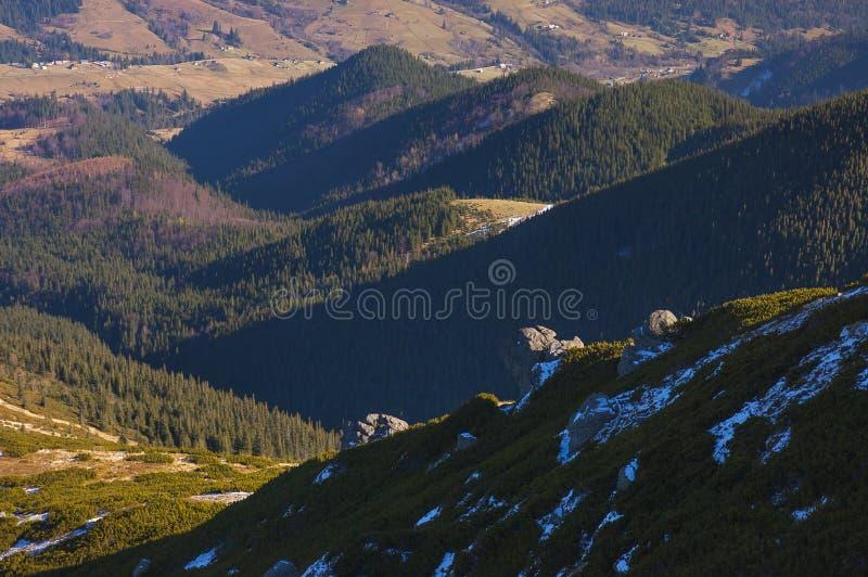 Die Karpaten im Vorfrühling stockbild