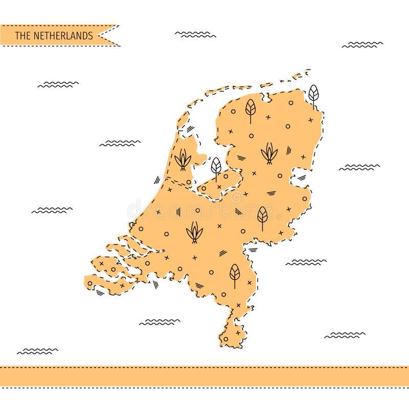 Die Karte der Niederlande in der flachen Linie Art stockbild