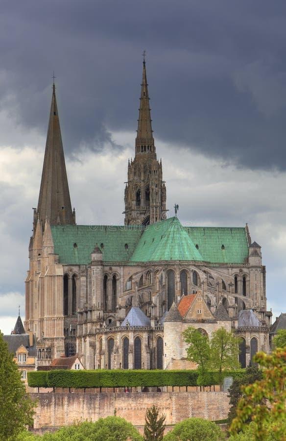 Die Kathedrale unserer Dame von Chartres, Frankreich lizenzfreie stockfotos