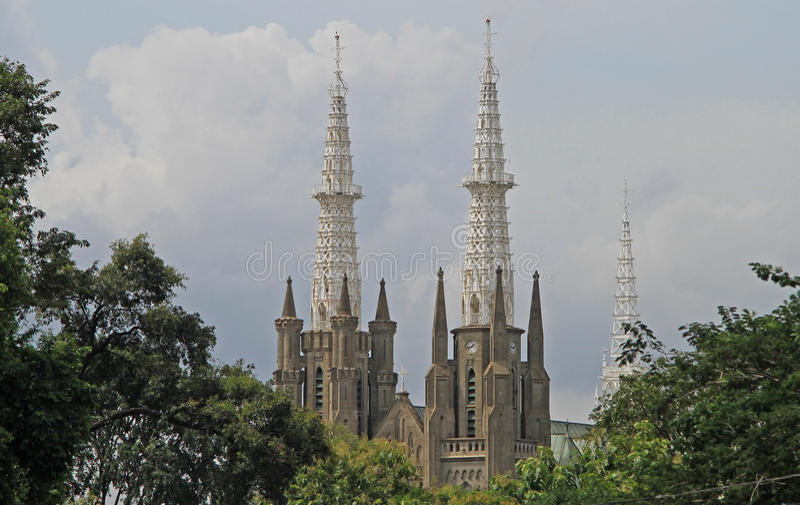 Die katholische Kathedrale von Jakarta lizenzfreies stockbild