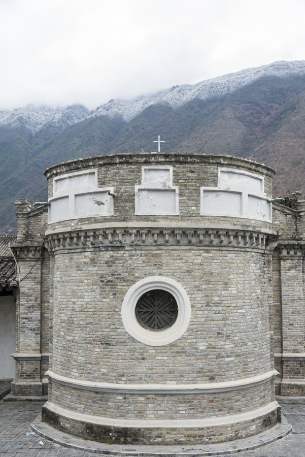 Die katholische Kirche Moxi stockbilder