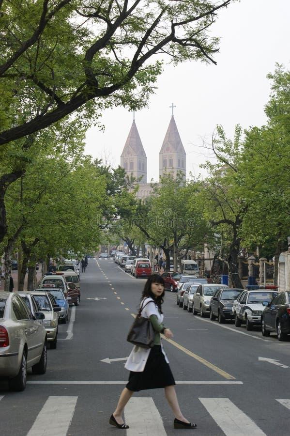 Die katholische Kirche von Qingdao, China stockbilder