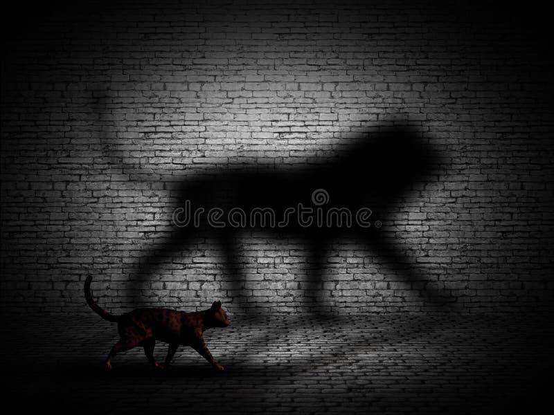 die Katze 3D, die mit Löwe geht, formte Schatten gegen eine Backsteinmauer vektor abbildung