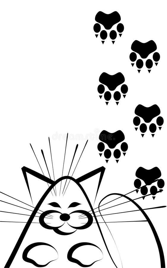Die Katze und die Spuren stock abbildung