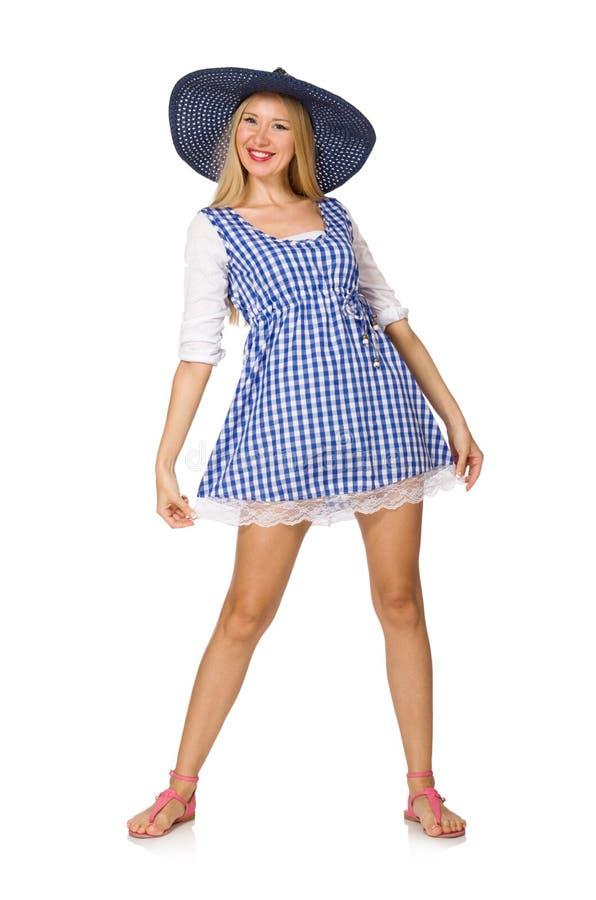Die kaukasische Frau in im blauen Kleid und dem Hut des Plaids auf Weiß stockbilder