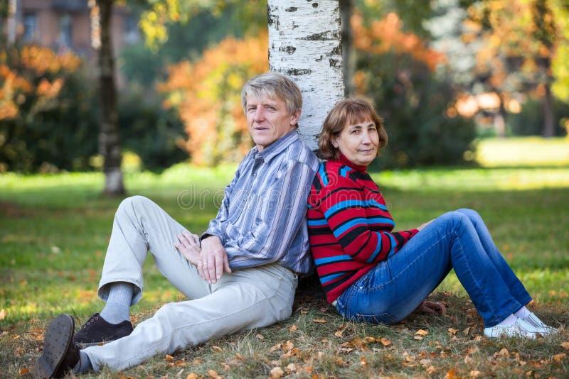 Die kaukasischen älteren Paare, die hinter Baum sitzen, halten im Herbstpark auf stockbild