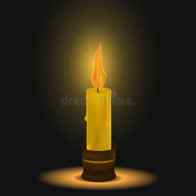 Die Kerzenbrände Dunkler Platz eine Flamme des Feuers schmelzendes Wachs kerzenhalter Auch im corel abgehobenen Betrag lizenzfreie abbildung