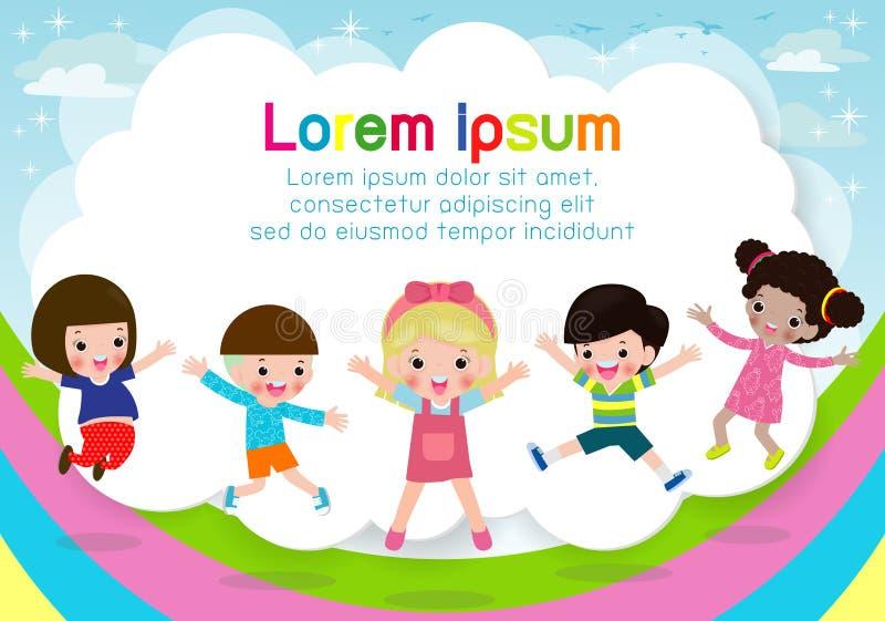 Die Kinder, die auf den Regenbogen springen, Kinder springen mit Freude, das gl?ckliche Karikaturkind, das auf Spielplatzhintergr lizenzfreie abbildung