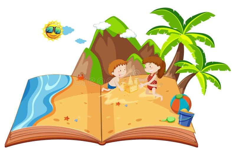 Die Kinder, die auf einer Insel spielen, knallen oben Buch vektor abbildung