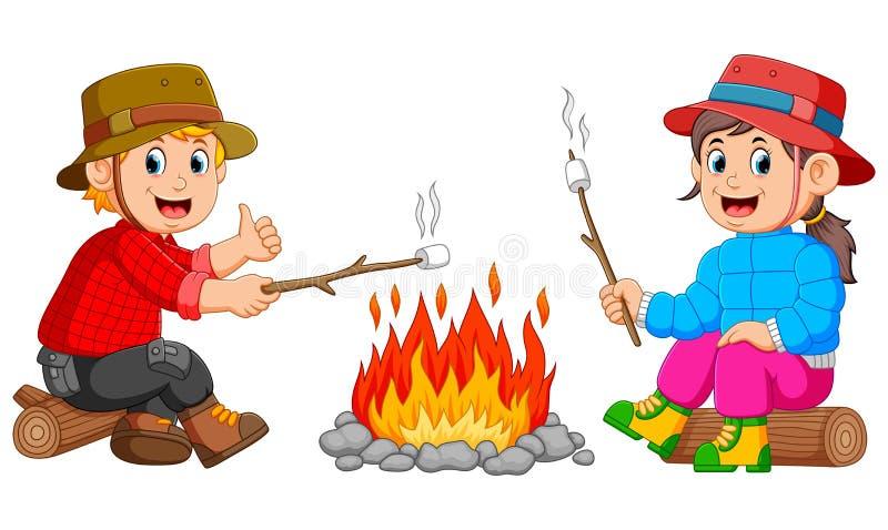 Die Kinder brennen den Eibisch im Lager lizenzfreie abbildung