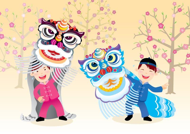 Die Kinder, die den Löwe spielen, tanzen wenn chinesisches neues Jahr stock abbildung