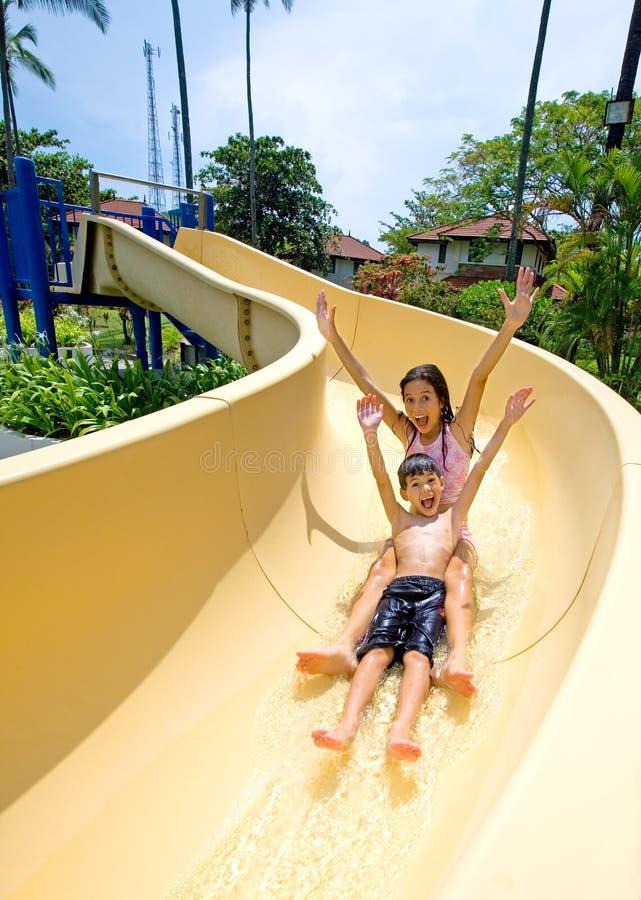 Die Kinder, die ein schnelles genießen, schieben unten Pool stockbilder