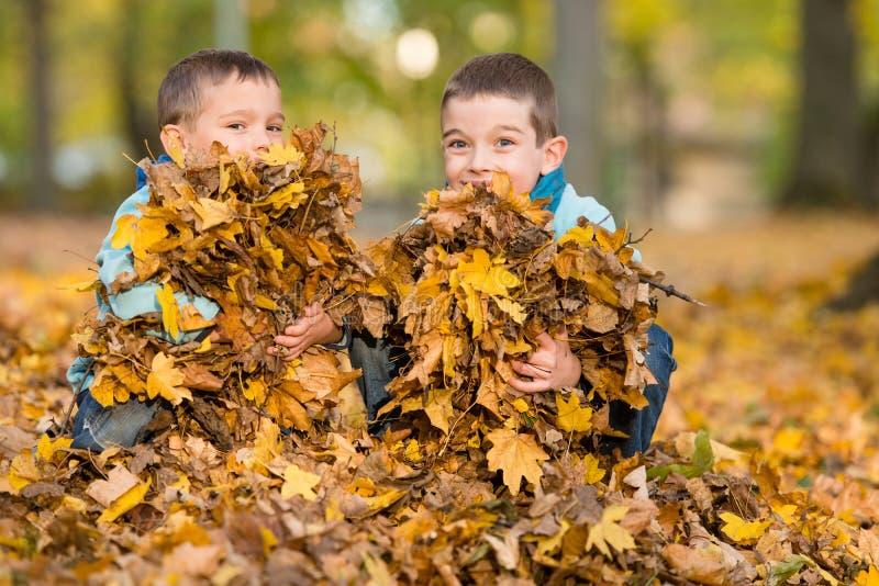 Die Kinder, die mit gefallenen Blättern im Herbst spielen, parken stockfotografie