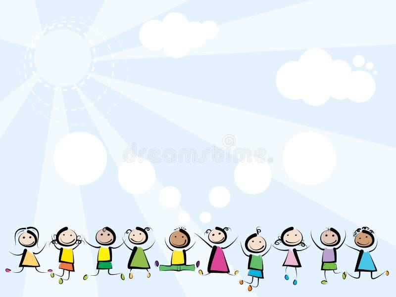 Die Kinder springend auf Himmelhintergrund lizenzfreie abbildung