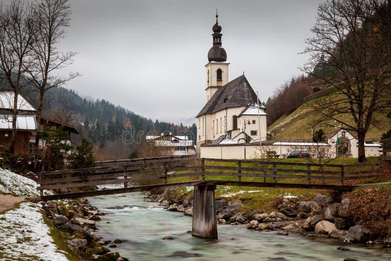 Die Kirche von St. bei Berchtesgaden Sebastians, Ramsau stockbild
