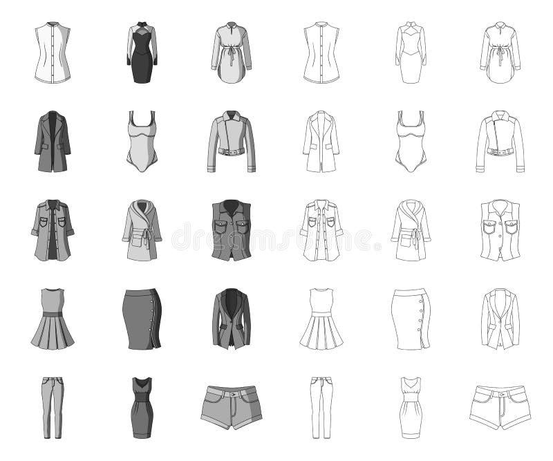 Die Kleidung der Frauen mono, Entwurfsikonen in gesetzter Sammlung für Entwurf Kleidungs-Vielzahl- und Zubeh?rvektorsymbolvorrat vektor abbildung