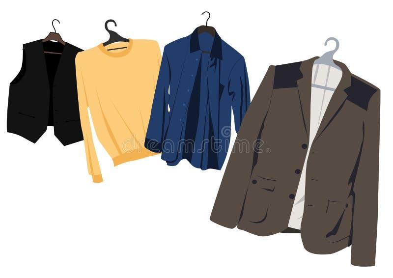 Die Kleidung der Männer auf Aufhängungen stock abbildung