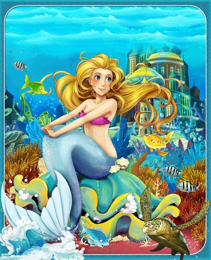 Die kleine Meerjungfrau - die Prinzessinnen - Schlösser - Ritter und Feen - schöner Manga Girl - Illustration für die Kinder stock abbildung