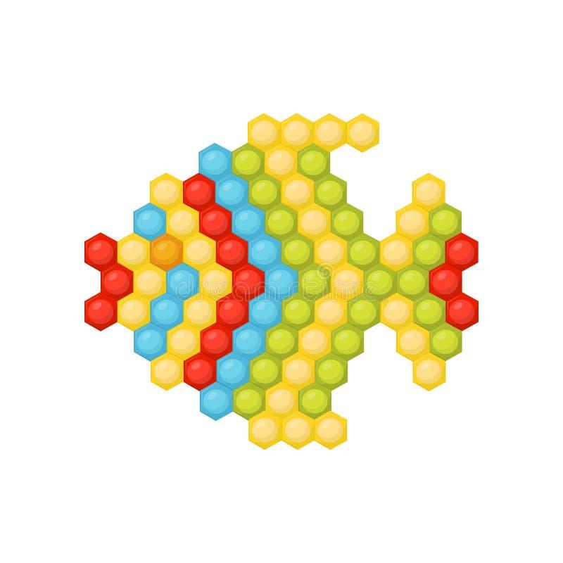 Die kleinen Fische, die vom mehrfarbigen Mosaik der Kind s gemacht werden, verwirren Spaßlernspiel für Kleinkinder Flaches Vektor vektor abbildung